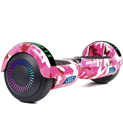 LIEAGLE Hoverboard Self Balancing Scooter Bluetooth Speaker Hover Board for Kids Adults with UL2272 Certified, Wheels LED Lights and Portable Carrying Bag (A02 Camo Pink)
