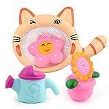 Amycute 4 pcs Juguete de Baño de Bebé, Rosa Azul Girasol Flower Regadera para Bebés Niños Piscina Bañera Diversión Baby Shower Time Baño de Playa