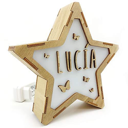 LolaPix Lámpara de Mesa de Noche. Estrella de Madera Luminosa. Lámpara Personalizada con Nombre. Eficiencia energética A. Mariposas
