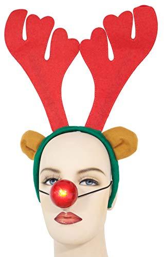 Toyland® Weihnachten Rentier Geweih & Nase - Weihnachtskostüm - Einheitsgröße