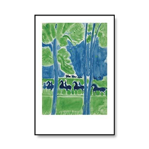Carteles e impresiones de caballos abstractos clásicos de Andre Brasilier, cuadro de arte de pared impreso, lienzo sin marco familiar, pintura B 60x80cm