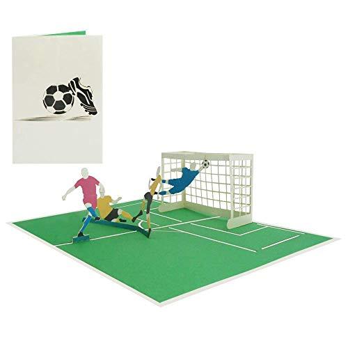 Pop Up 3D Karte Fußball Geburtstagskarte Fußballspieler Fußballfans Gutschein Grußkarte Sport Glückwunschkarte Glückwunsch Geburtstag - Fußball Spiel 166