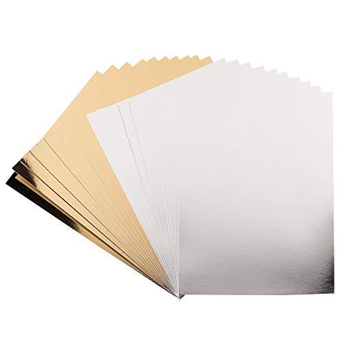Ideen mit Herz Spiegel-Karton   Metallpapier   Bastelpapier metallic   20 Bogen   Din A4   200 g/qm (Silber & hellgold)