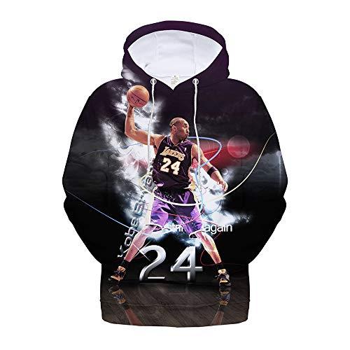 PQW Cooles Kapuzen-Sweatshirt, Unisex-3D-bedruckte Pullover-Hoodie-Jacke, staubdicht und Smog-bedruckter Hoodie Kobe Kobe