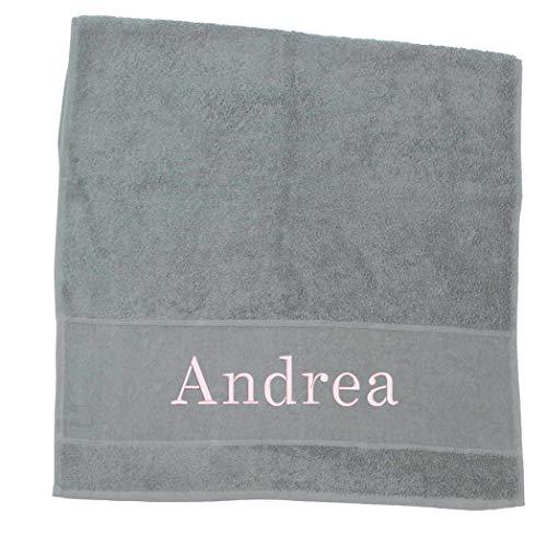 Premium Handtuch | Duschtuch | Saunatuch Porto aus Frottee, 500 g/m2 mit Namensbestickung | Bestickt mit Namen oder Wunschtext, Handtuchgröße:50 x 100 cm Handtuch, Handtuch Porto:Grau