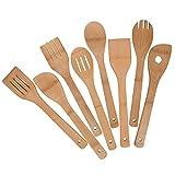 Mlryh Utensili da Cucina in Legno di Bambù, 8 Pezzi Set Di Utensili in Bambù, Cucchiai Spatola in Legno per Cucinare, Regali per Chef e Buongustai.