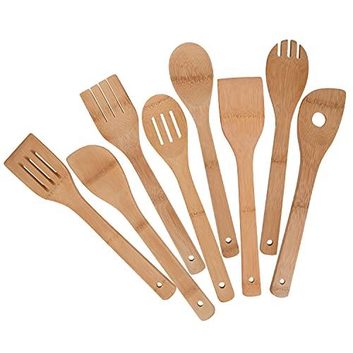 Mlryh Utensilios de Cocina de Bambú 8 Piezas, Juego de Utensilios de Bambú, Cucharas de Espátula de Madera para Cocina, Regalos para Chefs y Amantes de la Comida.