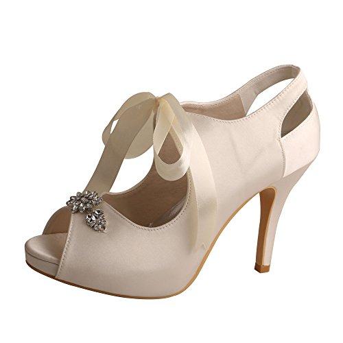 Wedopus MW505 Damen Mary Jane Peep Toe High Heel Ribbon Tie Satin Hochzeit Braut Pumps Schuhe, Weiß - elfenbeinfarben - Größe: 39 EU