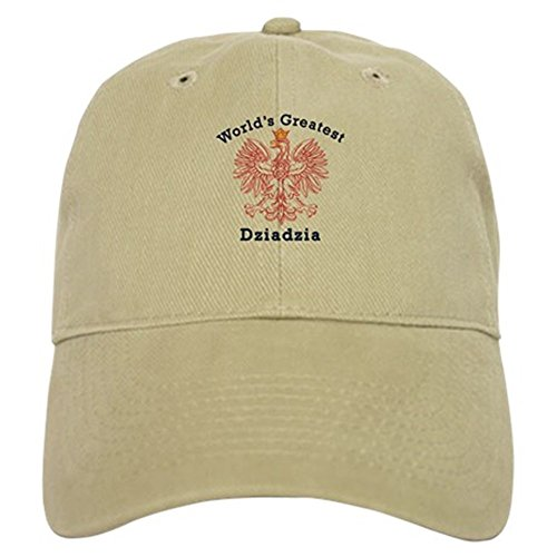 CafePress World's Greatest Dziadzia Crest Cap Baseball Cap with Adjustable Closure, Unique Printed Baseball Hat Khaki