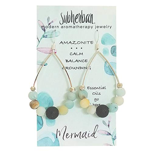 Subherban Essential Oil Earrings - MERMAID Aromatherapy Hoop Earrings with Lava Rock - Anti Stress & Anxiety Amazonite - Handmade Jewelry - Gifts for Women