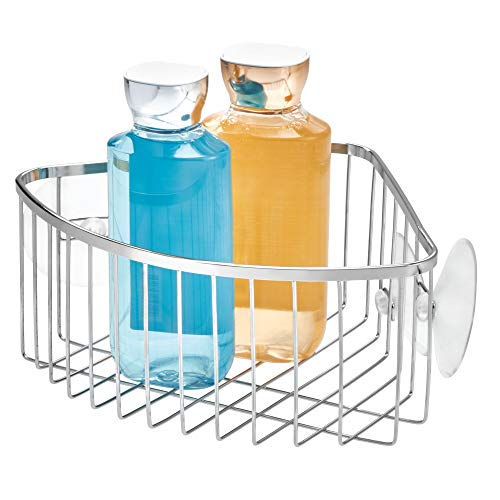 Price comparison product image InterDesign Suction Bathroom Shower Caddy Corner Basket for Shampoo,  Conditioner,  Soap - Stainless Steel,  Chrome Finish