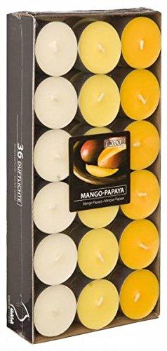 Theelichtjes geurkaars kaars geurtheelicht met geur gekleurd theelicht 36 geurteken Mango Papaya