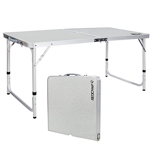 REDCAMP Aluminum Folding Table 4 Foot, Adjustable Height Lightweight Portable Camping Table for Picnic Beach Outdoor Indoor, White 48 x 24 inches