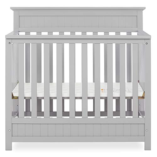 Dream On Me Harbor 4-in-1 Convertible Mini Crib in Pebble, Greenguard Gold Certified
