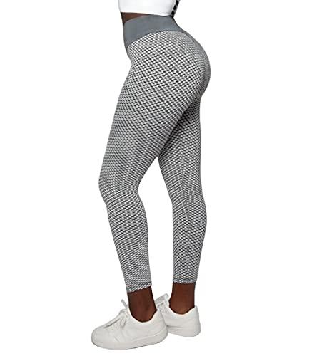 DUROFIT Scrunch Butt Leggings Anti Cellulite Boom Booty Leggings Po Push Up Sexy Leggings High Waist Sport Leggings Sport Tights Yoga Pants Push Up Tik Tok Leggings Yoga Leggings Damen Grau