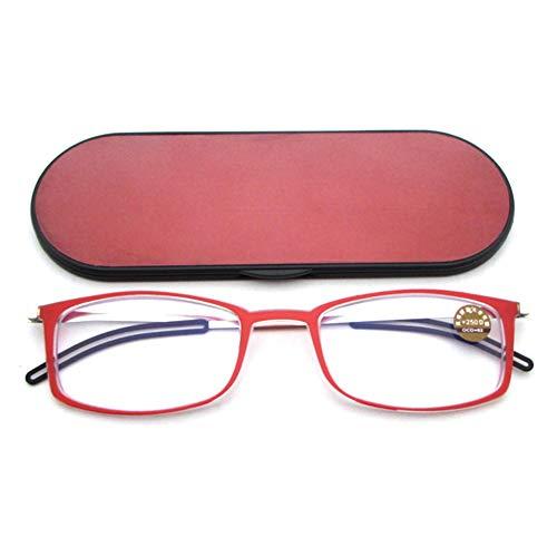 Gafas De Lectura Ultrafinas Anti-Blue Light Hombres Y Mujeres Ultra-Light HD Portátil Cómoda Presbicia Lectores De Plástico Ligeros Y Elegantes,Red-+2.50
