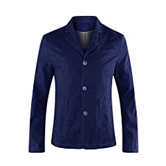 Allthemen Mens Casual Blazer Slim fit Long Sleeve Jacket Washed Cotton 3-Button Casual Suits Blazer Jackets, Navy (3 Button), M #1
