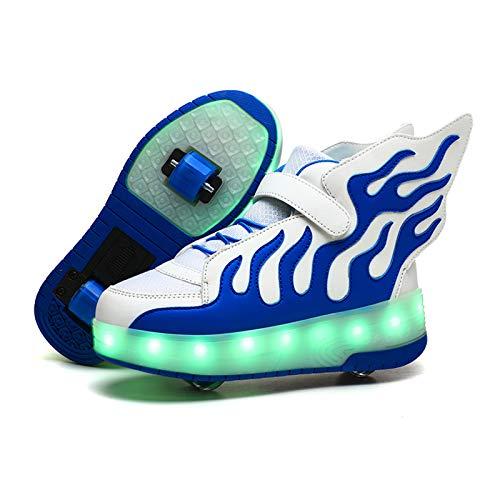 Zapatillas Deportivas LED para Niños LED Luces Skate Roller Zapatos USB Recargable - Automáticamente Retráctiles Zapatos de Roller Al Aire Libre Skateboard Sneaker para Niño y Niña Calzado de DEPO