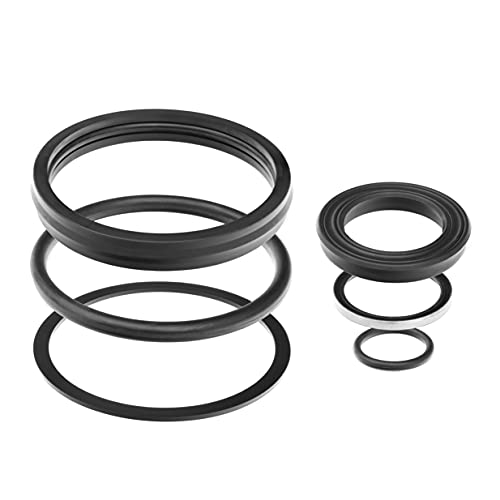 Rocklin Hydraulics Gannon Cylinder Seal Kit - 1 Set with 6 Pieces - Hydraulic Equipment Kit for Box Scrapers, Mowers, Blades and Tractors - for 1-1/8' Rods & Barrel Bore of 3'