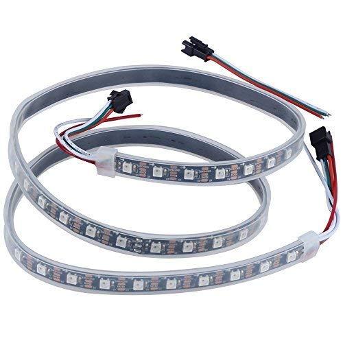 CHINLY 1m 60leds WS2812B Tira de luz LED direccionable individualmente SMD5050 RGB 60 píxeles Color de sueño Impermeable IP67 Negro PCB 5V DC