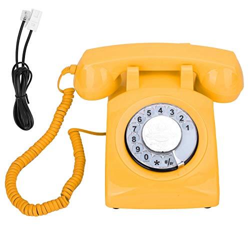 Vbestlife Teléfono Fijo de Escritorio, dial Giratorio Giratorio, teléfono Fijo Vintage, para FSK/DTMF, para Hotel de Oficina en casa(Amarillo)