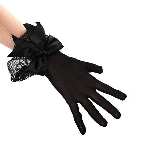 Spitzenhandschuhe Netzhandschuhe Satinhandschuhe Brauthandschuhe Weiß Schwarz Spitze Bogenverzierung Fingerlos Handschuhe Damen Handschuhe Sommer Sonnenschutz Handchuhe für Oper Hochzeit Party