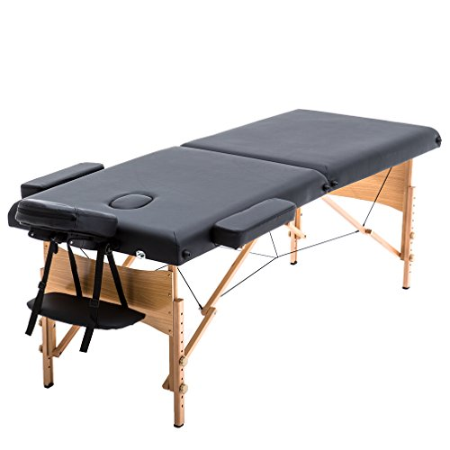 "2"" Pad 84"" Black Massage Table Free Carry Case Bed Spa Facial Best Massage"