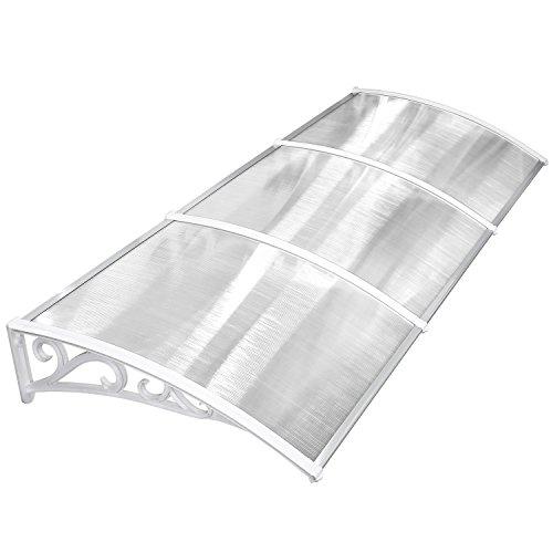 MVPOWERVordachfürHaustür270x98.5x28cm,ÜberdachungHaustürvordach,TürvordachPultbogenvordach,Hohlkammerstegplatten5mm,Polycarbonat,transparent, SonnenschutzRegenschutzfürdraußen,weiß