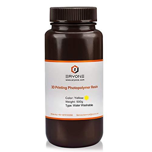 ERYONE Resina per Stampante Fotopolimerica 3D a Polimerizzazione UV Lavabile con Acqua per Stampante DLP/LCD, Gialla