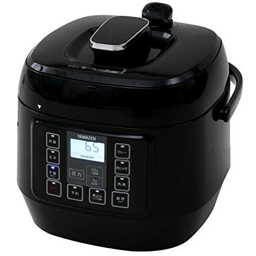 [山善] 電気圧力鍋 マイコン式 2.5L 圧力5段切替 ワンタッチ 簡単レシピ付き ブラック EPCA-250M(B) [メーカー保証1年]