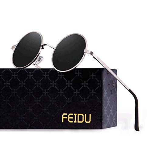 FEIDU Retro Vintage Runde sonnenbrille herren - Polarisiert mit rundem Metallrahmen,sonnenbrille damen FD 3013 (Schwarz-Silber, 1.81)