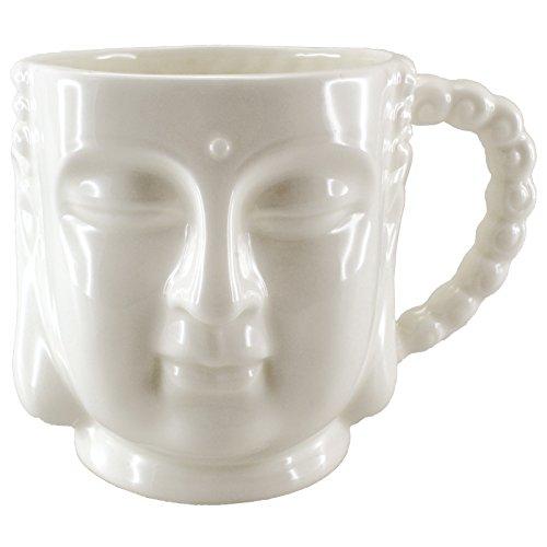 Buddha Bust Porcelain Mug with Handle 5.75x4.25x4'H (Cream/White)