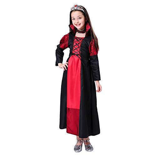 Goseare Kid Girls Fashion Classic Witch Zombie Vampire Dress Costume per Halloween Party Cosplay Giochi di Ruolo Spettacoli Teatrali Spettacoli in Maschera 140CM