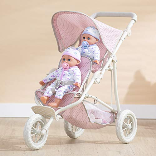 Olivia's Little World Double Twin Baby Doll Pram Stroller Pushchair Pink OL-00004