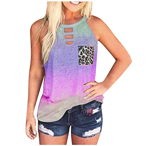 Camiseta sin mangas para mujer, estilo informal, moderna, para verano, cuello redondo, corbata, colorido, estampado de leopardo, blusa, camiseta, chaleco, túnica B lila M