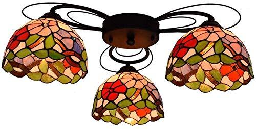 Lámparas De Techo Vintage, Lámparas De Techo Estilo Tiffany Con Pantalla De Vitrales, Decoración Del Dormitorio De La Sala De Estar, Accesorios De Iluminación De Techo Empotrados, 9 Cabezas, 3