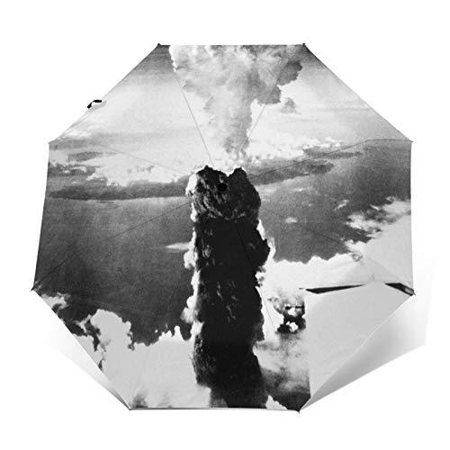 Paraguas Plegable Automático Impermeable Nube en Forma de Hongo de Bomba atómica, Paraguas De Viaje Compacto a Prueba De Viento, Folding Umbrella, Dosel Reforzado, Mango Ergonómico
