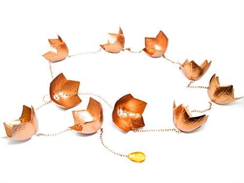 Trademark Innovations Kupferfarbene Blumen-Regenkette für Dachrinnen und Fallrohre