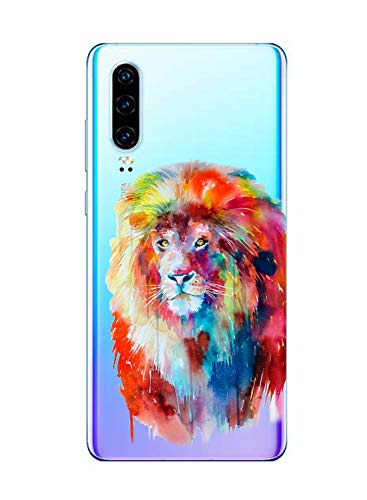 Oihxse Cristal Clear Coque pour Huawei P40 Pro Silicone TPU Souple Protection Etui [Jolie Aquarelle Animal Design] Anti-Choc Anti-Scratch Bumper Housse Ultra Fin Case (B8)