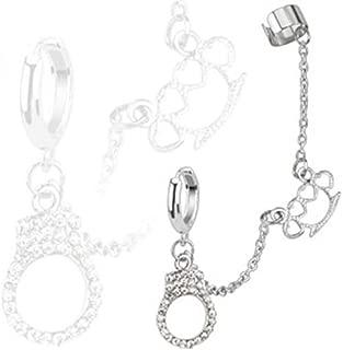 BodyJ4You Cuff Earrings with Brass Knuckle Ear Cuffs Chains Dangle Cartilage Earrings