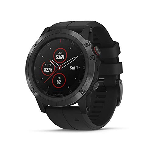 Garmin fēnix 5X Plus, Ultimate Multisport GPS Smartwatch, Features Color Topo Maps and Pulse Ox, Heart Rate Monitoring, Music and Pay, Black with Black Band (Renewed)