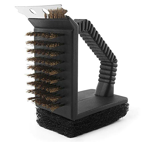 CoURTerzsl 3-in-1-Grillschaber mit Drahtbürste, Schmutzentferner, Scheuerschwamm, Küchenreinigungswerkzeug