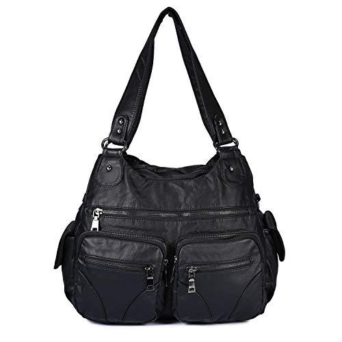 BAIGIO Women's Handbag Front Zippers Washed Leather Shoulder Bag Tote Bag Vintage Satchel Hobo Purse, Black