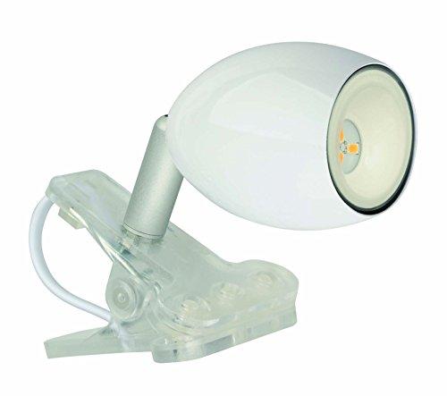 Jedi Lighting Warmton-LED, Clip-Light/Klemmleuchte Araled dreh- und schwenkbar. Mit 230V Netzzuleitung. Weiss. 100 lm.