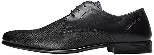 find. Zapato de Cordones con Textura en Piel para Hombre, Negro (Black), 43 EU