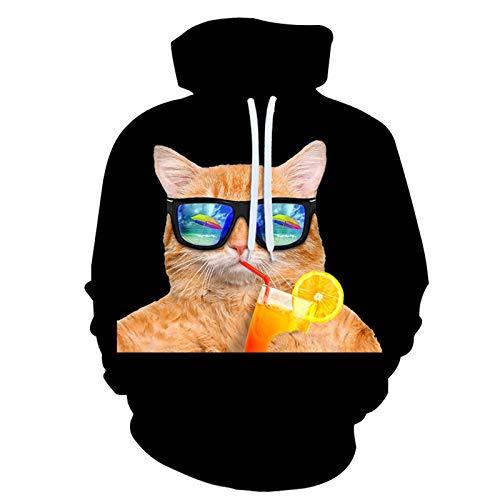 SLYZ Otoño E Invierno para Hombre Nuevo Suéter Informal De Gran Tamaño con Estampado De Gato Estampado En 3D con Capucha Suelta para Hombre