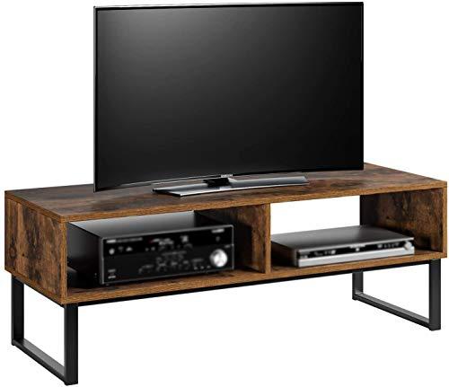 Para el salón Mueble de TV mesa de estanterías metálicas consola de televisión industriales duraderos dormitorio,Brown