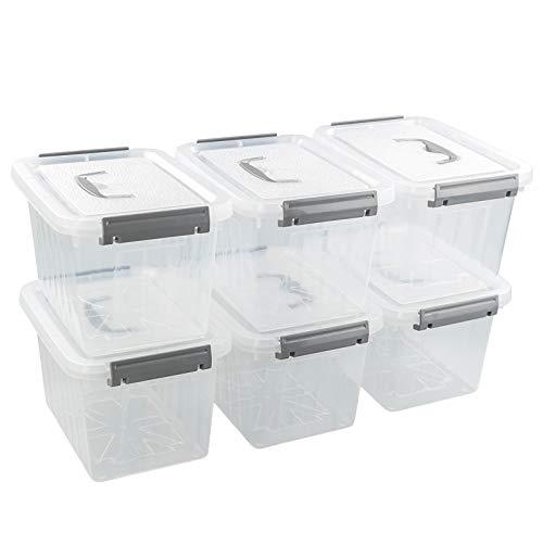 Vcansay Cajas pequeñas de almacenamiento portátiles con tapas y asas, transparente y gris, 6 paquetes