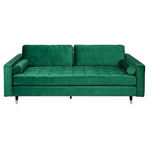Invicta Interior Elegantes Design Sofa Cozy Velvet 225cm smaragdgrün Samt Federkern 3er-Sofa