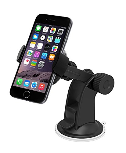 Car Mount, Liger Universal Smartphone Dashboard and Windshield Mount Holder/Cradle - Compatible with All Smartphones, Including iPhone 4 to 6 Plus, Samsung Galaxy S3, S4, S5 - Galaxy Note, LG